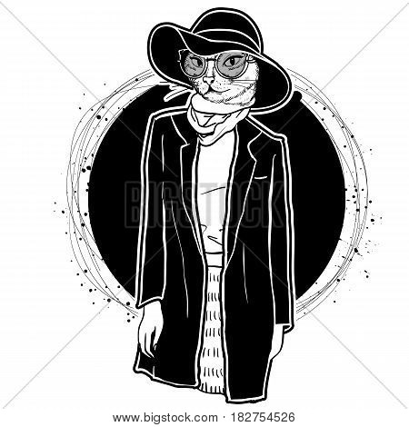 Vector monochrome sketch of female model with cats head wearing fringed skirt, top, jacket, scarf, hat, sunglasses and ballet flats