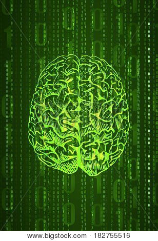 Vertical format background with numbers and front view brain sketch, abstract VECTOR in green color.