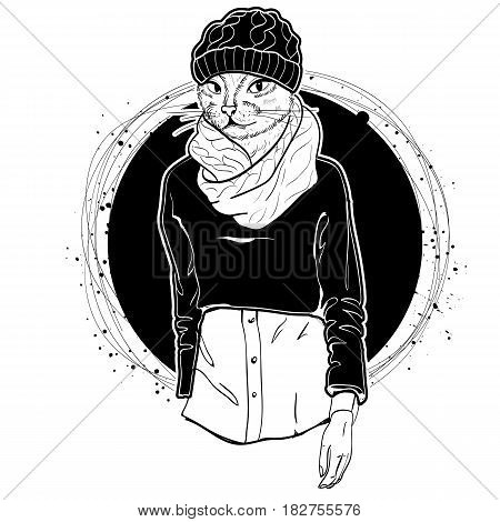Vector monochrome sketch of female model with cats head wearing ripped jeans, boots, shirt, sweatshirt, knitted scarf and knitted hat