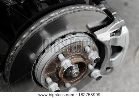 Rusty brake disc on the car at the service inspection