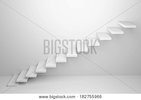 Ascending stairs of rising staircase going upward in white empty room abstract white 3d illustration. Business growth progress way and forward achievement creative concept.