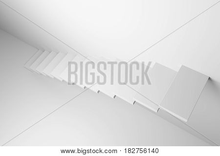Ascending stairs of rising staircase going upward in white empty room top diagonal view abstract white 3d illustration. Business growth progress way and forward achievement creative concept.