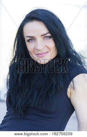 Photo of European woman with black hair
