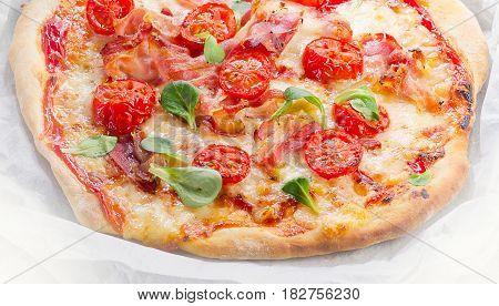 Italian Pizza . Healthy eating. Flat lay