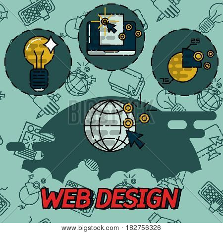 Web design flat concept icons. Templates for website.