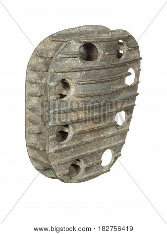 Vintage motorcycle cylinder head isolated on white background.