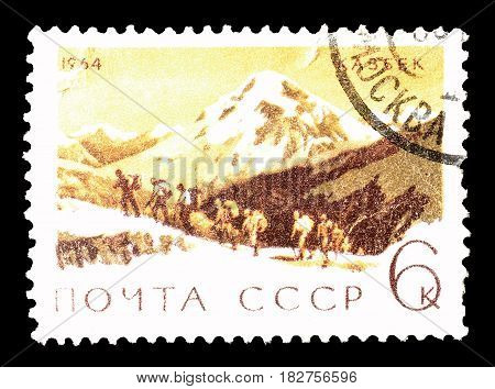SOVIET UNION - CIRCA 1964 : Cancelled postage stamp printed by Soviet Union, that shows Mountain Kazbek.