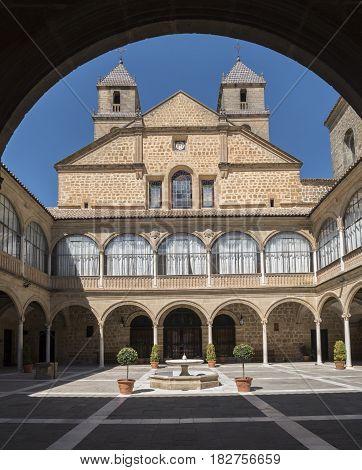 Hospital de Santiago Courtyard in Úbeda (Cultural heritage of Humanity city) Jaén Spain. World Heritage Site of Unesco.