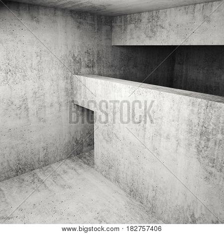 Abstract Empty Square Concrete Interior, 3D