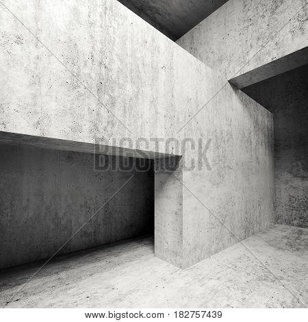 Concrete Interior, Walls And Girders, Square 3D