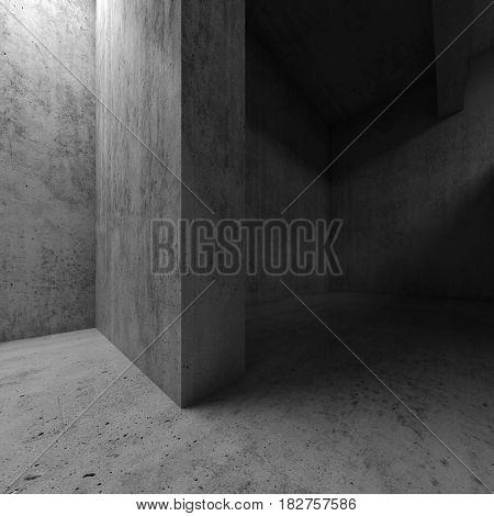 Abstract Empty Concrete Interior, Walls 3D