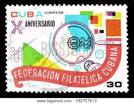 CUBA - CIRCA 1974 : Cancelled postage stamp printed by Cuba, that shows Motion, letters and stamp.