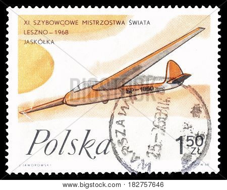 POLAND - CIRCA 1968 : Cancelled postage stamp printed by Poland, that shows Swallow airplane.