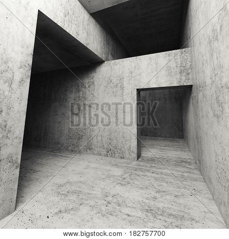 3D Dark Empty Concrete Interior With Doorways