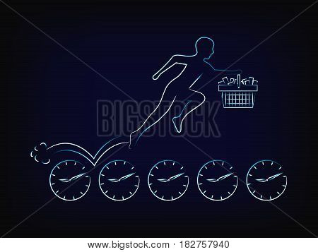 Customer With Shopping Cart Running On Clocks, Limited Time Promotions Vector