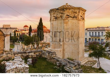 ATHENS, GREECE - APRIL 11, 2017: Remains of Roman Agora in the old town of Athens, Greece on April 11, 2017.
