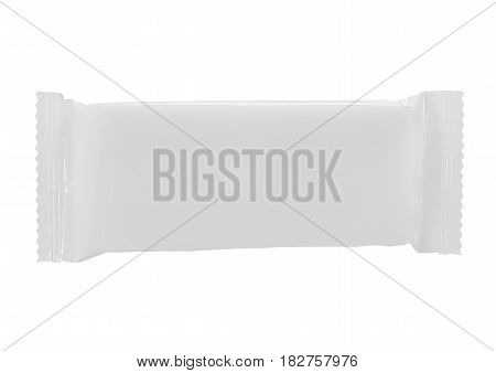 Top view of blank plastic pouch snack packaging for chocolate wafers on white background
