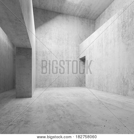 Abstract Empty White Concrete Interior 3 D Room