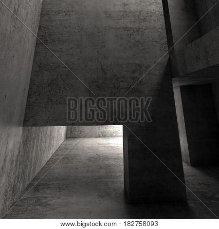 Abstract Dark Empty Concrete Interior, Square 3D