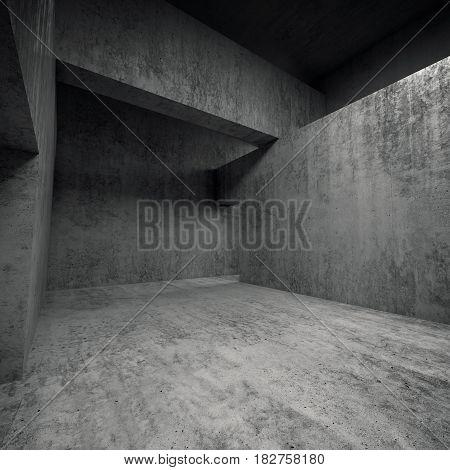 Abstract Empty Dark Concrete Interior, Square 3D
