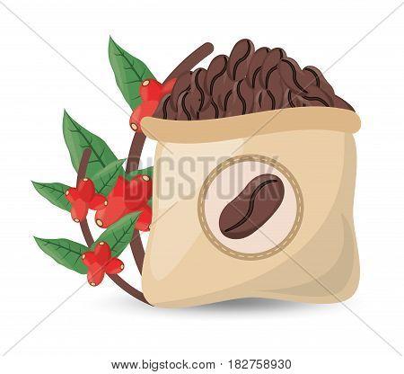 coffee roasted sac tree design vector illustration eps 10