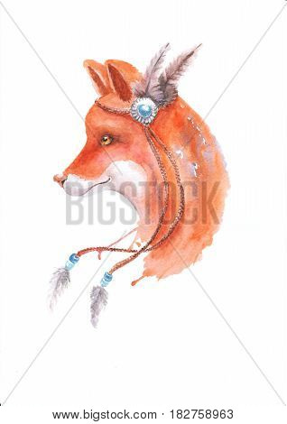 Portrait of a Fox in an Indian headdress with feathers. Hand drawn graphics,  watercolor, white background.