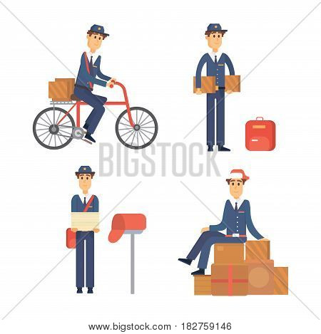 Set of postman delivery man character vector courier occupation carrier cute male package transportation. Mail business shipping deliver cheerful professional people with envelope.