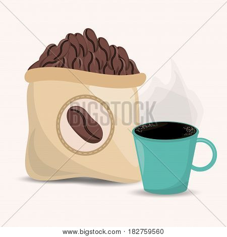 coffee beans sac and cup image vector illustration eps 10