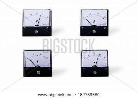 Four analog voltmeter&ampmeter isolated on white background.