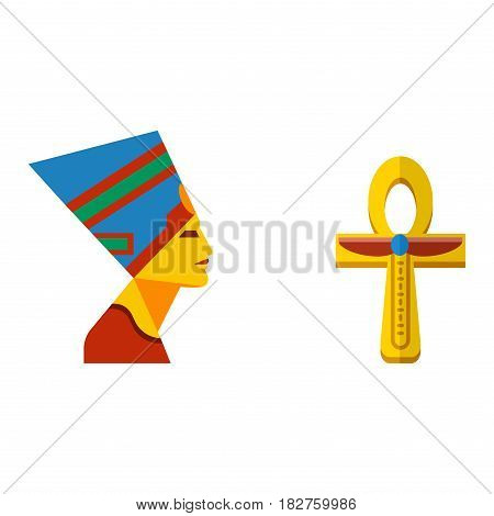 Vector flat design egypt travel cross icon pharaoh head element illustration. Landmarks culture ancient history africa pyramid sign egypt icons collection scarab silhouette.