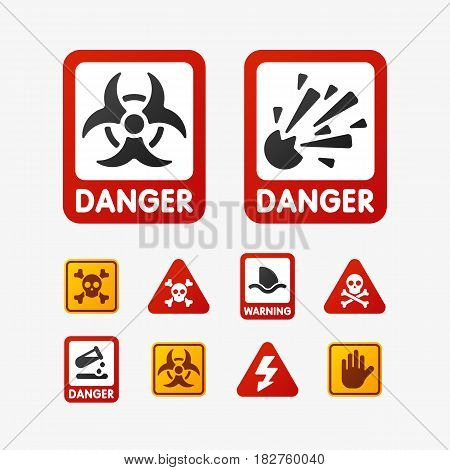 Prohibition signs set oil industry production vector illustration warning danger symbol forbidden safety information and protection no allowed caution information. Yellow red risk circle.