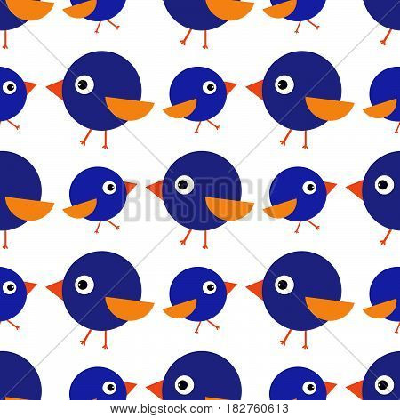 Birdies seamless pattern for children orange, cartoon, funny