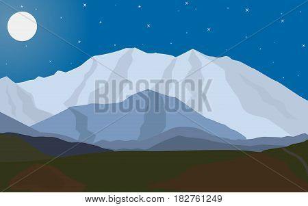 Vector illustration of a landscape of evening mountains with the moon.