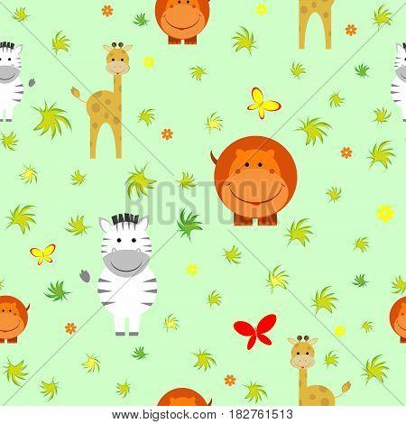 Cute animals africa summer cartoon hippopotamus giraffe zebra print textile background design butterfly