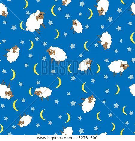 Cute lamb seamless pattern night star animal blue background moon cartoon child