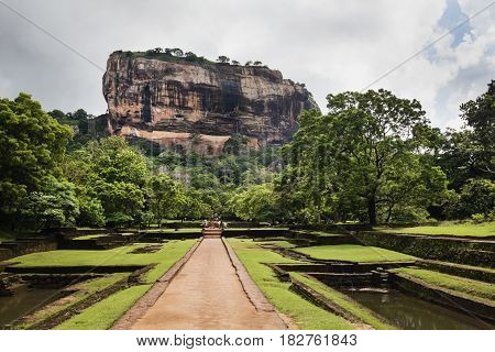 Sigiriya. Lion's rock. Place with a large stone and ancient rock fortress and palace ruin. Sri Lanka
