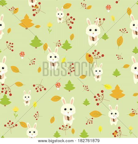 Hare seamless pattern September harvest autumn cartoon forest tree