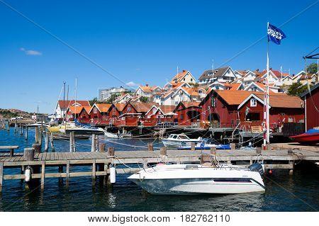 BOHUSLAN SWEDEN - JULY 13 2011: Swedish touristic village Fjallbacka on the West coast of Sweden.