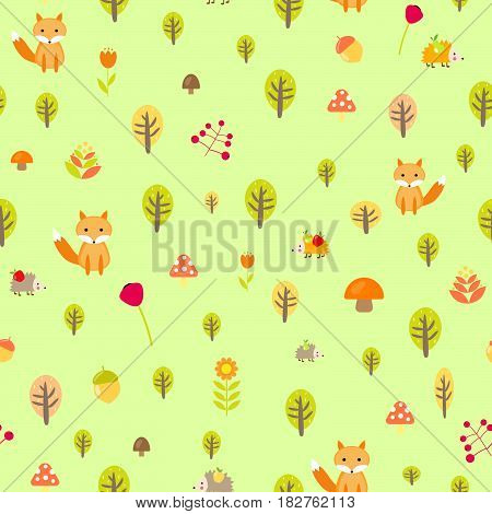 Cute autumn seamless pattern fox forest tree, September October mushroom cartoon print packing textiles hedgehog berry harvest August hare leaves