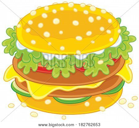 Big tasty sandwich with cutlets, greens and cheese