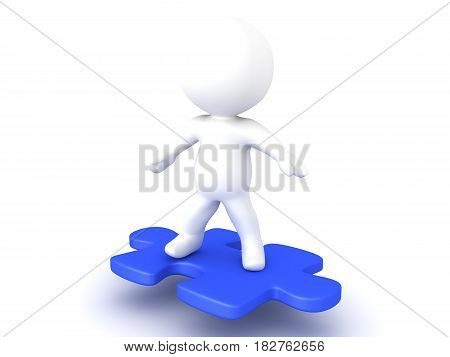 3D Character riding on flying puzzle piece. This image has a dynamic vibe to it.