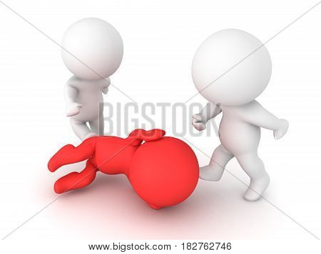 3D illustration of a person sitting in the fetal position while being attacked. The attackers are kicking the victim.