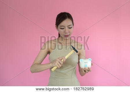 Woman Holding A Piggy Bank , .saving Money