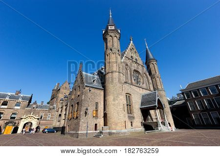 Dutch parliament and court building complex Binnenhof in The Hague The Netherlands