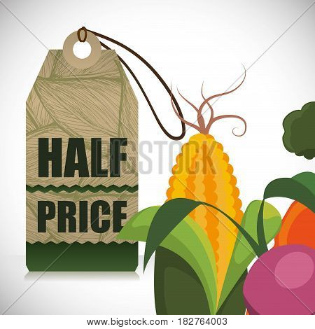 vegetables half price offer shop vector illustration eps 10