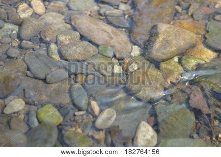 Water flowing over pebbles in a mountain creek