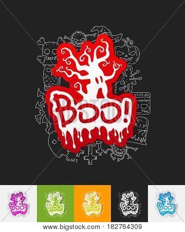 hand drawn simple elements with boo paper sticker shadow