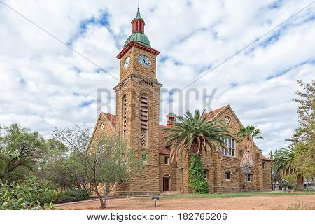 CALITZDORP SOUTH AFRICA - MARCH 24 2017: The historic Dutch Reformed Church in Calitzdorp inaugurated in April 1912