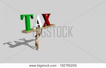 3D Render Wooden Dummy Tax