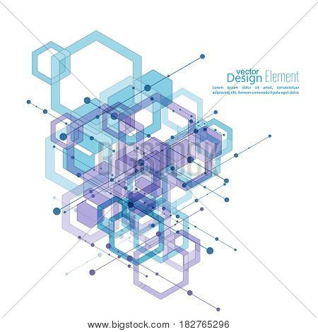 Virtual abstract background with particle, molecule structure with transparent cubes, hexagons carcass. genetic and chemical compounds. Science and connection concept. Social network. vector